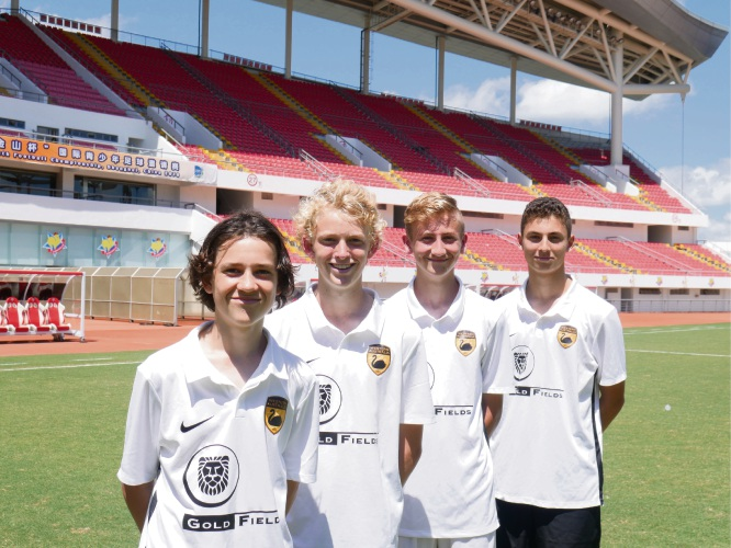 Zac Harris-Walker, Lukas Debnam, Samuel Cook and Joseph Teixeira  inside the Jinshan Sports Centre Stadium.