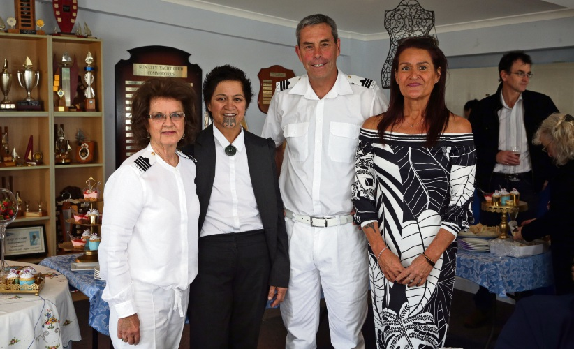 Dana Queisser (Sun City Yacht Club commodore), Nina Campbell (Two Rocks), John Utley (vice commodore) and Edwina Eriwata-Smith. Photo: Martin Kennealey