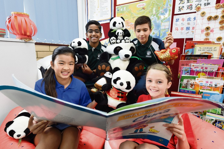 Oberthur Primary School students Mia Koay, Hari Menon, Alex Sedov and Arianna Collier practice their Mandarin ahead of a study tour to China. Picture: Jon Hewson.