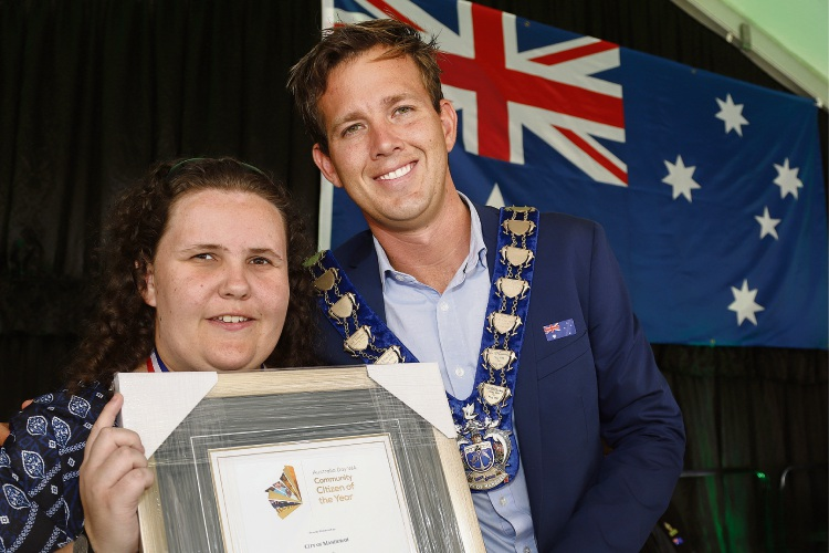 Mandurah Youth Citizen of the Year Ayesha Patterson with Mayor Rhys Williams.