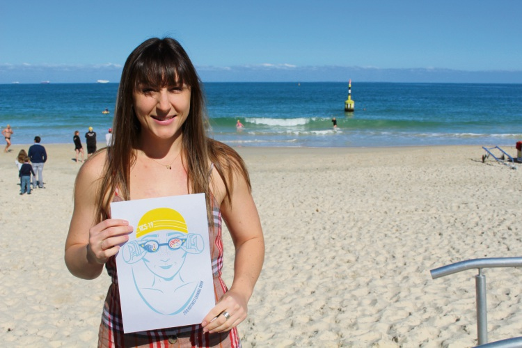 Lana Stephens with her design at Cottesloe Beach.