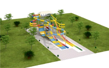 An artist's impression of the new 17.5m waterslide tower at Outback Splash at The Maze.