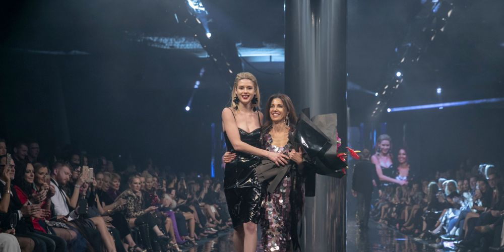 Perth Fashion Festival director Mariella Harvey-Hanrahan with a model