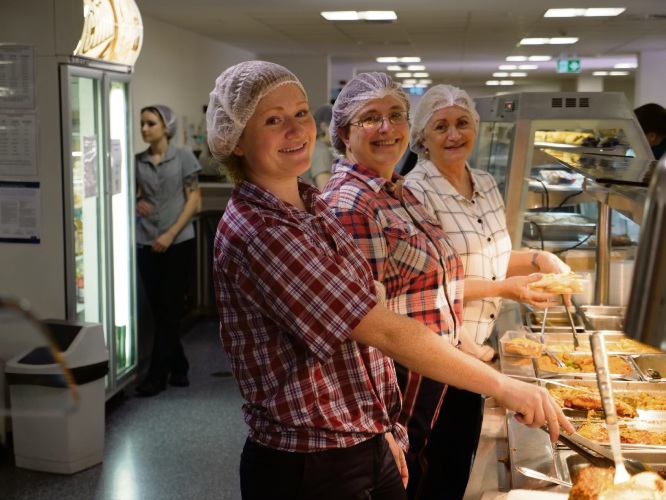 Joondalup Health Campus catering staff Mikayla Johnsen, Stacey Mann and Julie Sorensen.