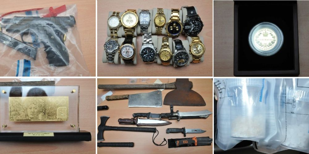 Items seized by police during raids in Northam.