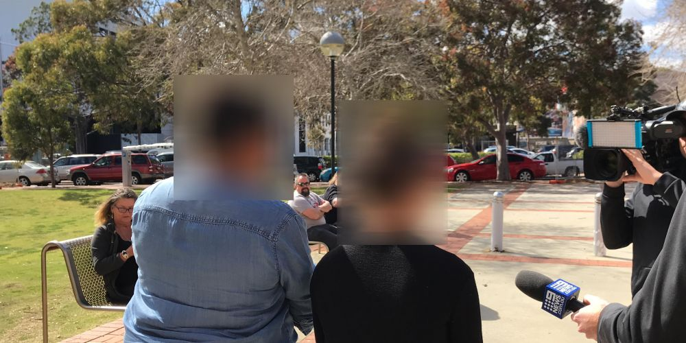 The 13-year-old, right, outside Joondalup Childrens Court today. Picture: Tyler Brown.
