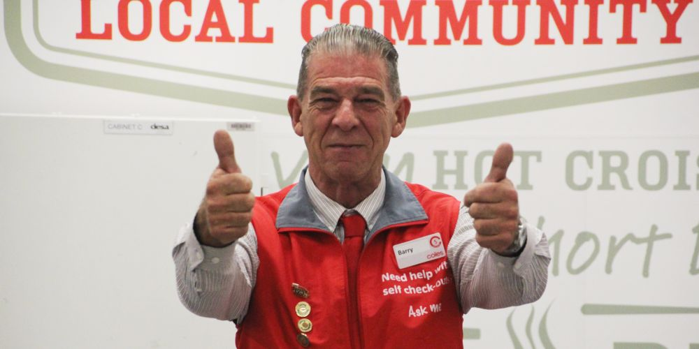 Coles customer service operator Barry Sommers has returned to the Raine Square store.