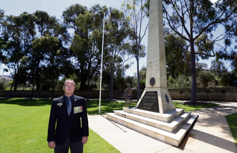 Joondalup City RSL president Rick Green at the Joondalup War Memorial again targeted by vandals. Picture: Martin Kennealey d486968