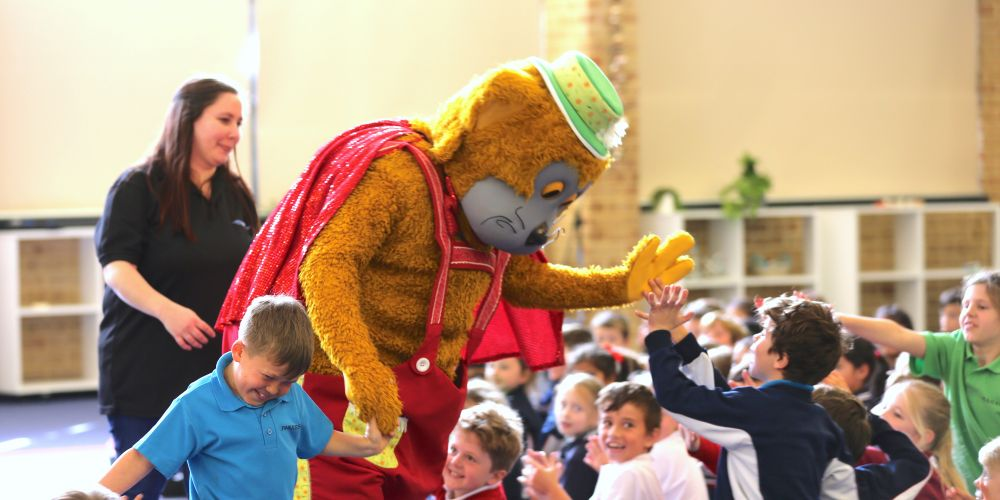 Fat Cat was joined by Year 4 student Kaide Stratton to celebrate the announcement of his role as one of the Telethon Stars for this year.