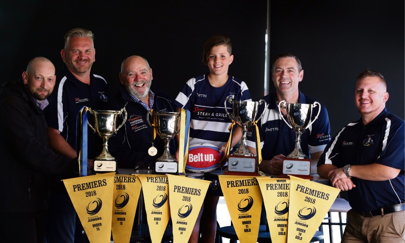 Joondalup Brothers Rugby Union Club -Gavin Hickey (under-14 coach), Masie Masterton (junior president), Kevin Russell (chairman), Sebastian Capelli (under-11 player), Shawn Swart (under-10 coach) and Chad Capelli (under-11 coach).