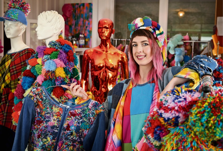 Kate Hannah with some of her P'JUNK fashion range ahead of her trip to California for ¯LA Fashion Week Picture: David Baylis. d486928