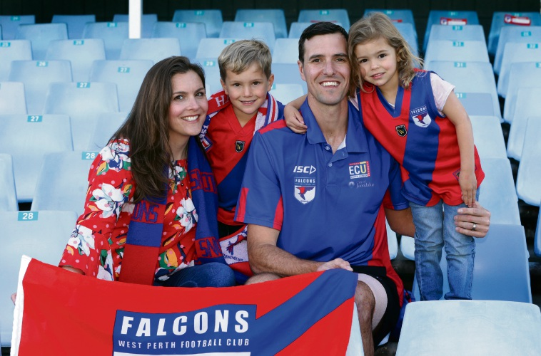 West Perth life member Chris Keunen with his wife Anna and children Xavier and Hayley. Picture: Martin Kennealey d486979