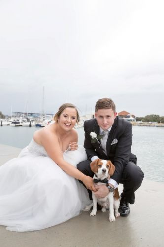 Emily and Tim Zsilinszky with their fur baby Fyfe.