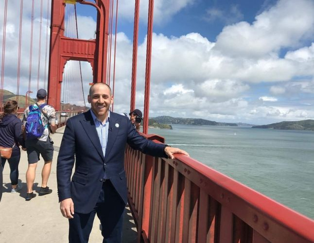 Kevin Hines at the Golden Gate Bridge in San Francisco.