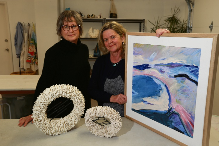 Helen Robins (City Beach) and Roseanne Watson (Chittering) are friends and award winning artists, exhibiting for the first time. Picture: Andrew Ritchie