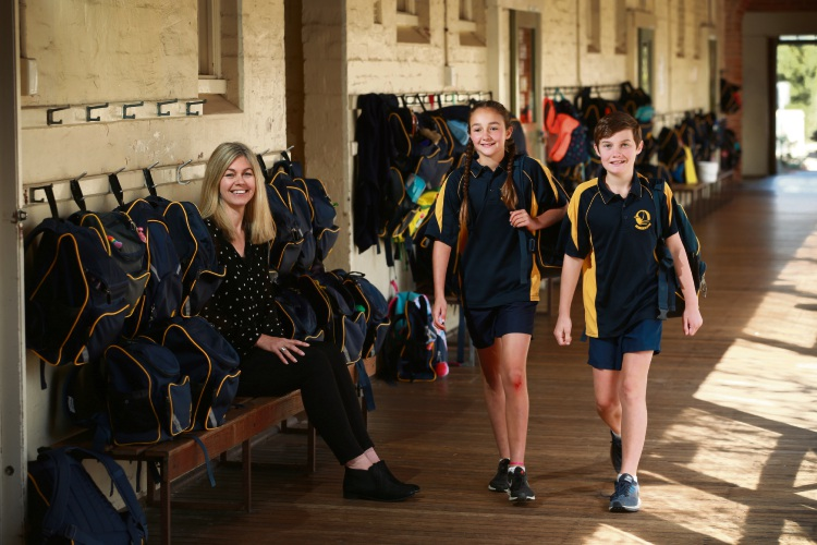 Richmond Primary School principal Lisa Dentith with head girl Ruby Cuthbert and head boy Darcy O'Keefe. Picture: Andrew Ritchie.