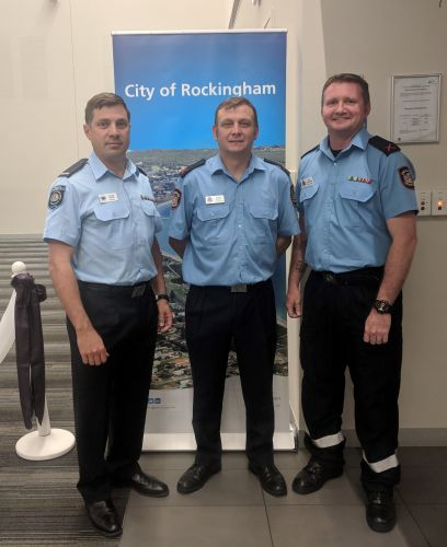 CPO Calum Blake, CPO Gavin Kemp and CPO Jeff Calderbank at the annual City of Rockingham Volunteer recognition ceremony.