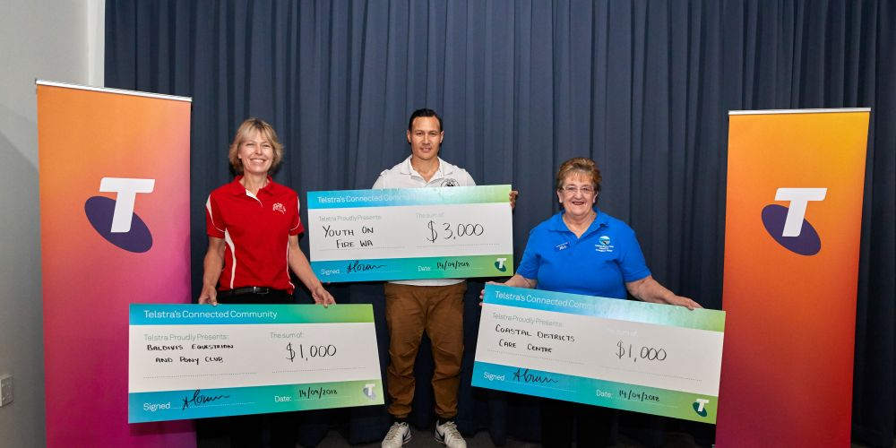 Baldivis Equestrian and Pony Club president Lisa Brahim, Rhys Peakman from Youth on Fire WA and Coastal Districts Care Centre president Jill Harris. Photo courtesy of Energy Images.