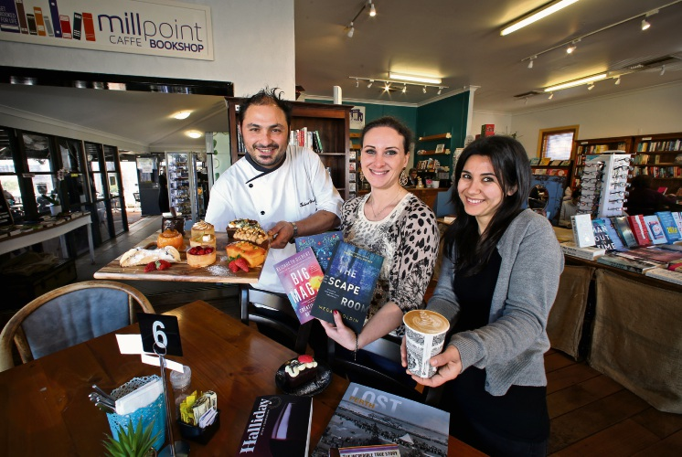New owners of the Millpoint Caffe Bookshop in South Perth L-R: Fabio Colantoni (Chef), Veronica Arancio (Manager) and Giusy Arcadu (Manager and Pastry Chef). Photo: David Baylis