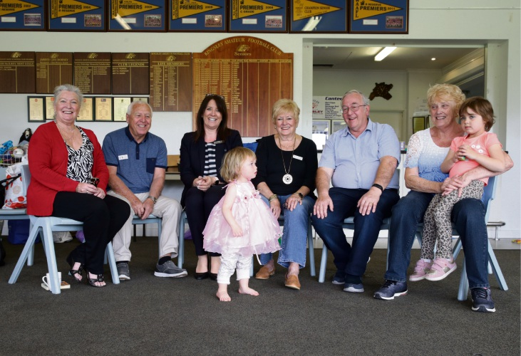 Theresa Sutton, Clive Rowden (president), Elisabeth Weetch (manager Westpac Woodvale), Jan Standen (vice president), Philip Etherington , Penny Rowden, Aaliyah Kilpatrick (3) and Summer King (20 months.) Picture: Martin Kennealey.
