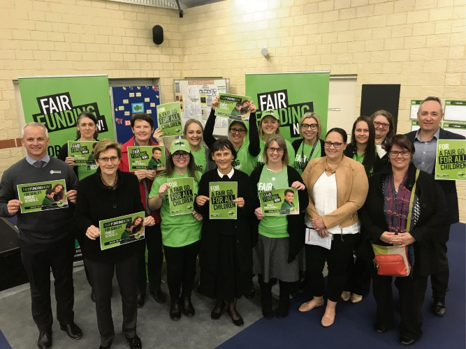 The State School Teachers' Union launched its Fair Funding campaign at Yanchep Beach Primary School.