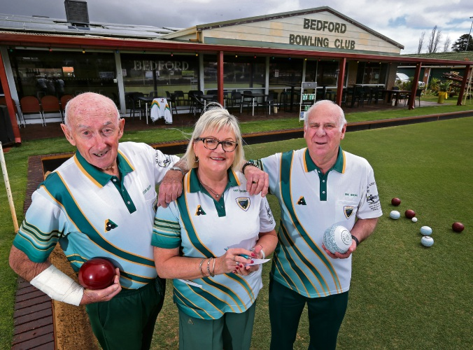 Cliff Graybrook (Life Member and 9 times Club Singles Champion), Kaye Edelman (Secretary) and Eric Edelman (President). The Bedford Bowling Club will soon celebrate its 60th Anniversary. Picture: David Baylis www.communitypix.com.au d486675