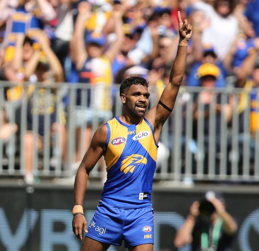 Liam Ryan celebrates his goal in the West Coast Eagles' big preliminary final win over Melbourne. Picture: Paul Kane, Getty Images