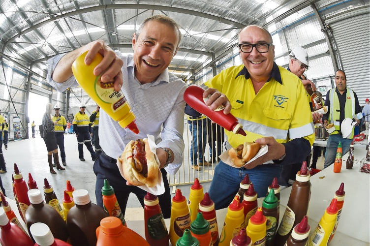 Kwinana MLA Roger Cook and Tianqi Lithium general manager Phil Thick. Picture: Jon Hewson www.communitypix.com.au d486893