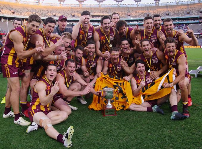 Subiaco celebrates its 2018 WAFL grand final win over West Perth.