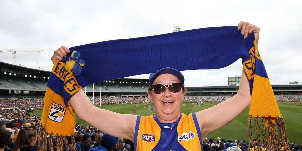 An Eagles fan at yesterday's open training session at Subiaco Oval. Picture: Paul Kane/Getty Images