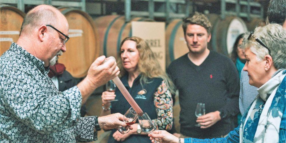 John Griffiths muscat barrel tasting at Faber Vineyard.