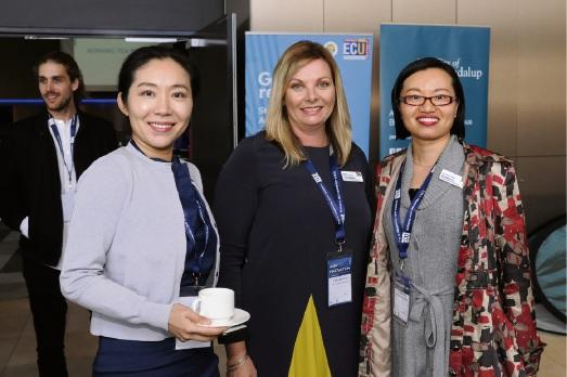 Orbis Canada former development director Caroline Huang, ECU School of Nursing and Midwifery international director Tania Beament and ECU international officer Elizabeth Fu. Pictures: Chris Kershaw