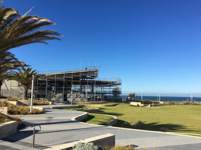 The Eden Beach cafe is being built on the Jindalee foreshore.