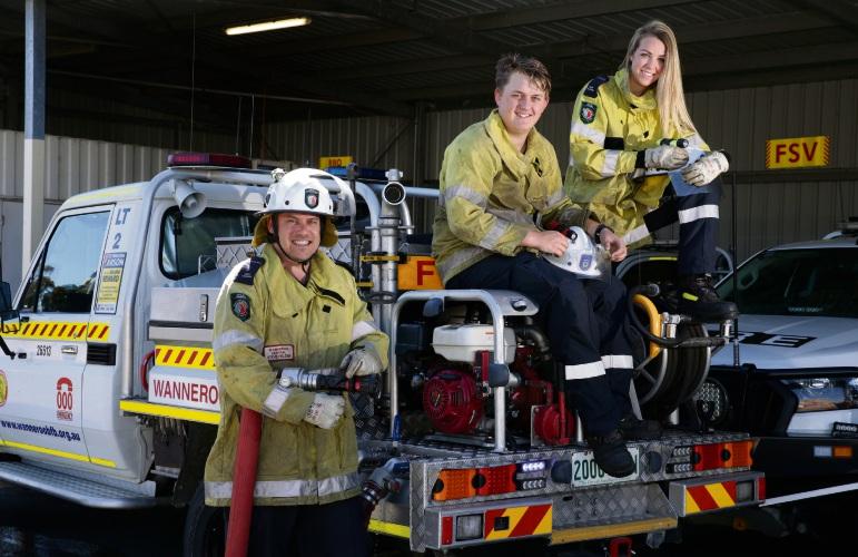 Firefighters Steve Fielder, Shaden Clarke and Danielle Vandermeulen. Picture: Martin Kennealey.