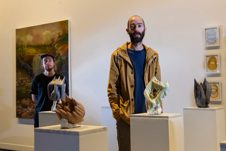 Jarrad Martyn, left, and Tom Freeman will be exhibiting their work as part of the John Stringer Prize collection at the John Curtin Gallery. Picture: Will Russell.