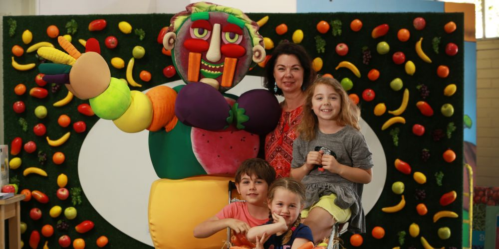 Vegieman, Natasha Roberston, Holly Roberstson (8) with Nate Franklin (7) and Raine Franklin (3). Picture: Andrew Ritchie.