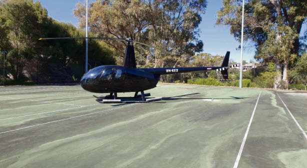 The helicopter on the tennis courts at Joondalup Resort.