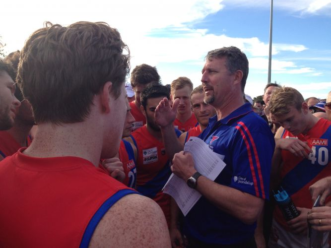 Bill Monaghan addressing the Falcons in their 2013 premiership season. Picture: J Bianchini