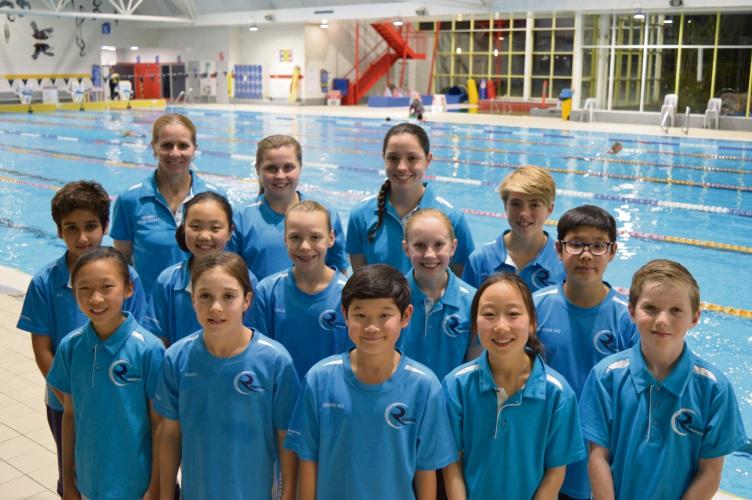 The Riverton Aquanauts junior state seam with head coach Gemma Herrington.