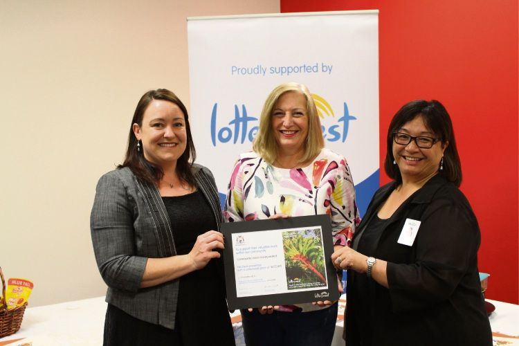 Joondalup MLA Emily Hamilton, Community Vision chief executive Michelle Jenkins and Grants and Community Development acting general manager Lorna Pritchard.