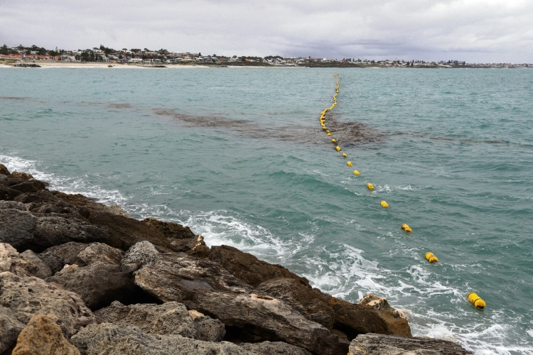 The Sorrento Beach enclosure following storms in late July. Picture: Martin Kennealey