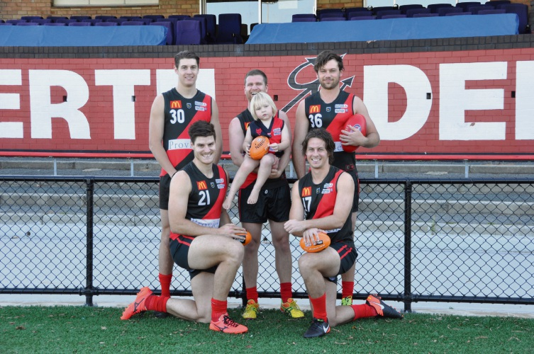 Finlay Higgs (centre) with Blake Johnson, Christian Eyres, Cody Leggett and Kurtis Chester from the Perth Demons.