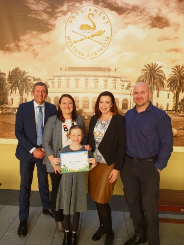 Parliamentary secretary to the Environment Minister Reece Whitby MLA, Joondalup MLA Emily Hamilton and Charlotte, Megan and Jason Camp.