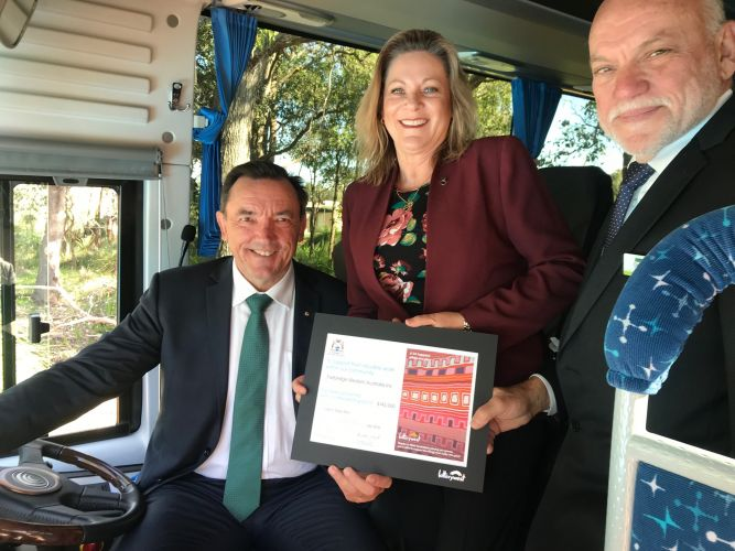 Murray-Wellington MLA Robyn Clarke, Youth Minister Peter Tinley and Fairbridge chief executive David Russell.