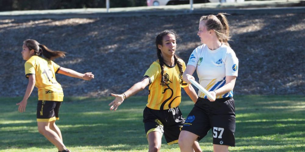 Under 22 Ultimate Championships: Sue Francoise on defence.
