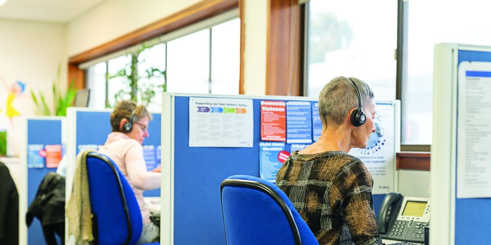 Telephone crisis support volunteers at Lifeline. Picture: Supplied.