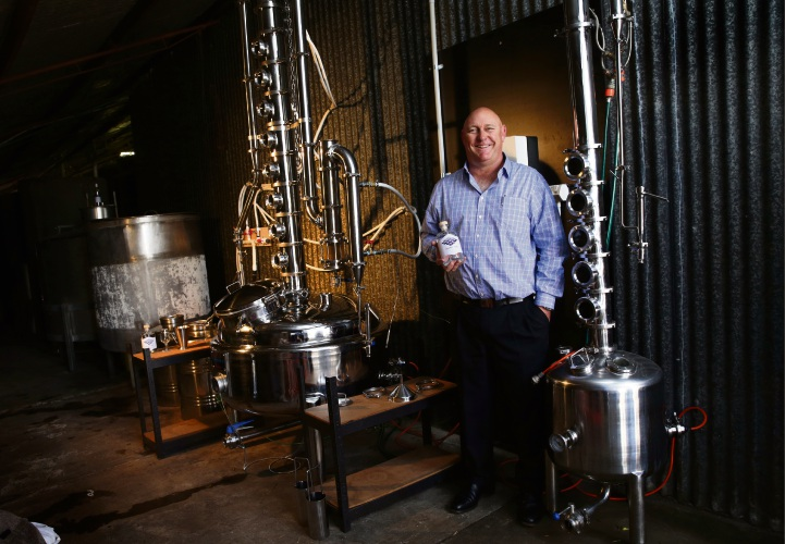 Warren Fish in his Grumpy Fish Distillery at Paul Conti Wines. Picture: Martin Kennealey d487383
