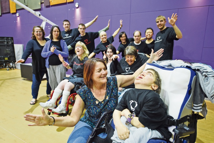 Dance Inclusion will be holding fun workshops during The Big Free Funday for Telethon. Pictured are Carer Janice Godwin & Joe Rendell (Wheelchair) with other Dance Inclusion participants.