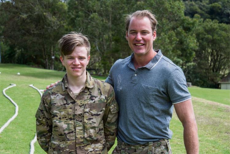 Luis Gaebler with Afghanistan veteran Troy Methorst.