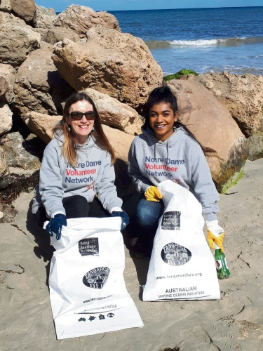 Donna Tempra (Manager) and Ashani Jeyadevan (student) from the Notre Dame Volunteer network will be joining the Bathers Beach clean up.